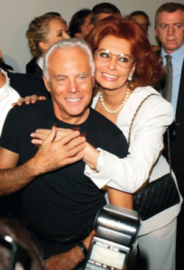 Giorgio Armani at his 80th birthday celebration with Sophia Loren